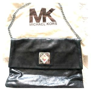 Metallic Michael Kors clutch with chain